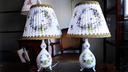SZÍNES INDIAI - KOSÁR mintás Herendi porcelán asztali lámpák