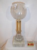 Üveg - üveg kupa - nagy - 34 x 11 cm - tömör márvány talppal - hibátlan
