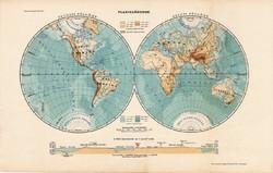 Planiglóbusok, világtérkép 1913 (2), eredeti, atlasz, Kogutowicz, térkép, félgömb, félteke, metszet