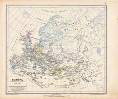 Európa térkép a népvándorlás korában 500 (2), kiadva 1913, eredeti, térkép, Kogutowicz, történelmi