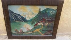 Antik, szignózott festmény eladó. Gyönyörű!