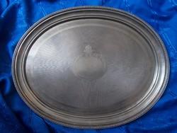 Antik nagyméretű fém  ovál tálca kínáló  56cm