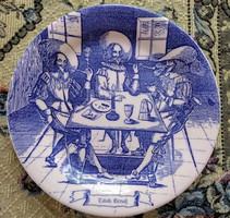Kék, jelenetes angol porcelán tányér - Ironstone Tableware