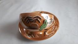 Keleti gésás lüszter mázas tojáshéj porcelán teás szett