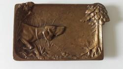 Szecessziós bronz tálka,névjegykártyatartó ,1900 körül