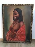 Mohácsi Regős Ferenc: Afrikai szépség - olajfestmény