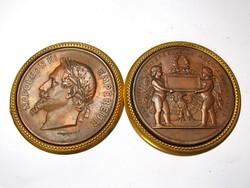 III.Napóleon 1867. évi nemzetközi kiállítás emlékérem két darabban.