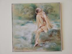 Acsa Szücs Imre képzőművész ülő női portré olajkép 1998