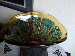 Art Deco borostyán színű, francia kandalló váza baglyokkal!