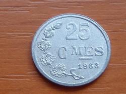LUXEMBURG 25 CENTIMES 1963  ALU. MEDÁL ÉS NEM COINS VERET!!!!! #