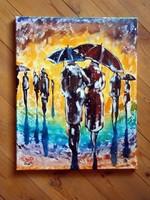 Ketten az esőben - FESTMÉNY VÁSZON -40x50cm-