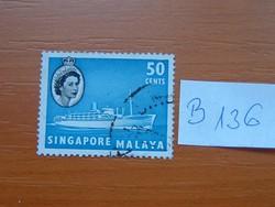 SINGAPORE MALAYA 50 C 1955 II. Erzsébet királynő, hajók  B136