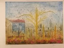 Eladó Gross Arnold gyönyörű színezésű, nagyméretű rézkarca: Tordai műterem II.