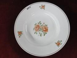 Gránit magyar porcelán mélytányér, gyönyörű rózsával.