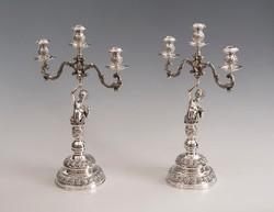 Ezüst figurális kandeláber párban