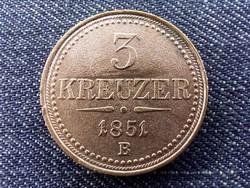 Austria Ferenc József réz forgalmi 3 Krajcár 1851 B BU/id 10329/