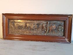 """""""Szántó-vetők"""" Antik bronz/ v. bronzírozott / dombormű - falikép. Nagyméretű : 51,5 x 21,5cm"""