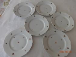 5 db régi, pajzspecsétes Zsolnay virágmintás és 1 db ugyanolyan Hohenberg Bavaria süteményes tányér