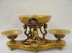 Barokk asztalközép-porcelán-bronz -kínáló-gyümölcstál
