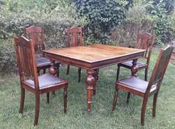 Rusztikus,Ónémet stílusú étkezőasztal  5db székkel