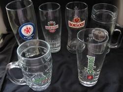 6 db magyar sörös pohár, korsó csomag