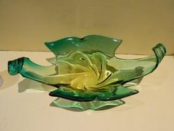 Cseh vastag üveg két szinű asztalközép.
