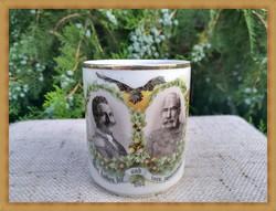 Ritka, Ferenc József és Vilmos császár mintás porcelán bögre
