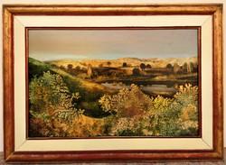 Dallos Ferenc (1928 - 2001) Dombos táj c. Képcsarnokos olajfestménye 57x42cm Eredeti Garanciával !!