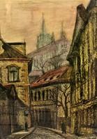 Tavaszy Noémi ( 1927-2018) Prágai hangulat c.olajpasztell festménye 74x54cm EREDETI GARANCIÁVAL !