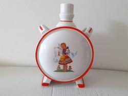 Retro Zsolnay porcelán népi motívumos kis kulacs régi pálinkás butykos
