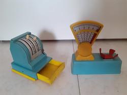 Retro boltos játék régi műanyag játékok kassza pénztárgép mérleg 2 db