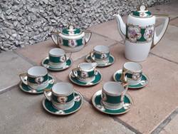 Hüttl Aquincum porcelán mokkás/kávés készlet, hiánytalan