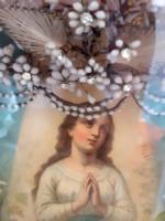 Antik esküvői fali emlékdoboz menyasszonyi mirtuszfejdísz régi néprajzi falidísz