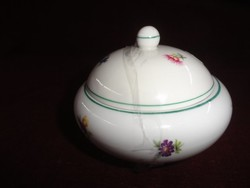 Hollóházi porcelán cukortartó apró virágmintával. Átmérője 11 cm.
