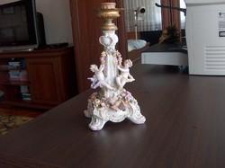 Gyönyörű antik barokk porcelán gyertyatartó, jelzett