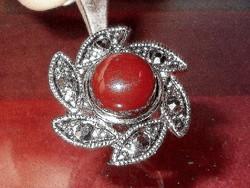 Régi Forgó Virág Markazit Korall Tibeti Ezüst Gyűrű 7-es