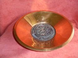 Szignált iparművészeti vörösréz tányér