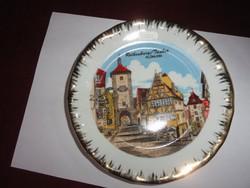 KLEIBER Bavaria német porcelán falitányér. ROTHENBURG látképpel, arany szegéllyel.
