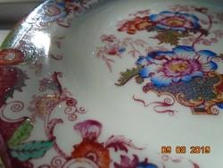 Antik angol újszerű kézzel festett ,számozott virág mintás finom porcelán tányér-17,5 cm