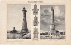 Világítótorony, egyszín nyomat 1893, német nyelvű, eredeti, világítás, szerkezet, tenger, óceán