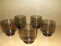 Retro füstszínű üveg pohár készlet 5 db-os (K)