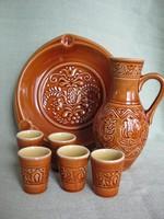 Gránit kerámia készlet kancsó 5 db pohár és hamutál