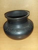Fekete kerámia váza 18 cm Karcag (z)