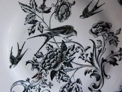 Rörstrand Svala antik fajansz tányér fecske motívummal