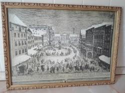 Bécsi rézkarc nyomat keretezve, üvegezve 44 x 33 cm