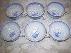 Bögre vásár kiárusítás: csésze 6 db.kék virág mintás kínai porcelán reggeliző bögre 2dl.