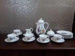 Antik HUTSCHENREUTHER porcelán kávés kszl. süteményes tányérokkal  / 2645
