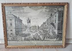 Bécsi rézkarc nyomat keretezve, üvegezve,  44 x 33 cm