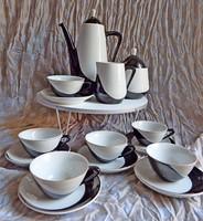 Hollóházi art deco (pingvinként emlegetett) kávéskészlet