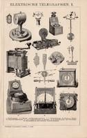 Elektromos telegráf I., II., egyszínű nyomat 1892, német nyelvű, eredeti, távíró, Siemens, Thomsons
